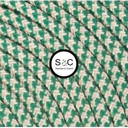 Textus - Cavo Tondo con Rivestimento Tessile Sabbia/Verde